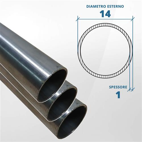 Tubo diametro 14 spessore 1 mm (opaco) - AISI 316L