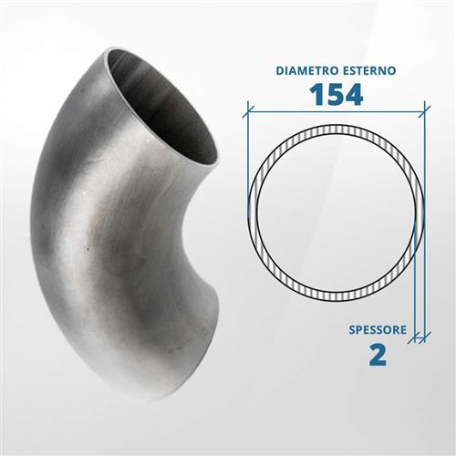 Curva in acciaio inox 90° a saldare diametro 154 spessore 2 mm (opaco)- AISI 304
